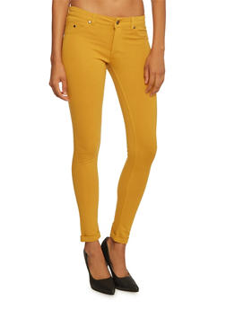 Skinny Pants with Fixed Rolled Hems - MUSTARD - 3061062701537