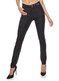 Belted Skinny Pants - 3061062701575