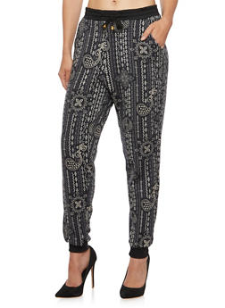 Printed Joggers with Drawstring Waist - 3061062906018