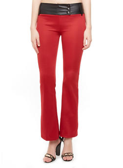 Flared Pants with Faux Leather Waistband - 3061071291678