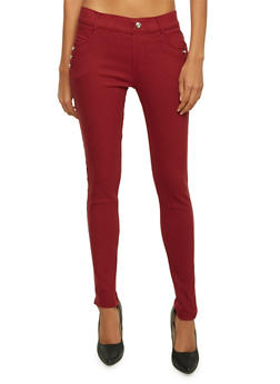 Jeggings with Studs and Pockets - WINE - 3061072710276