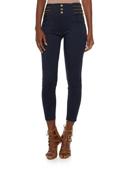 High-Waisted Stretch Jeans with Zipper Accents - 3061072716506