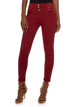 High Waisted Stretch Jeans with Zipper Accents - 3061072716506