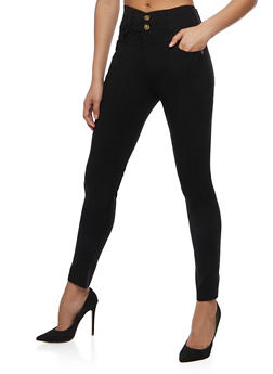 Solid 2 Button Jeggings - 3061072717396