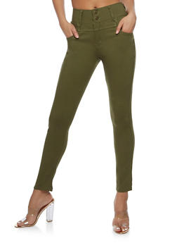 Solid 2 Button Jeggings - OLIVE - 3061072717396