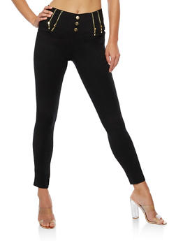 3 Button Pants with Exposed Zippers - 3061072717398