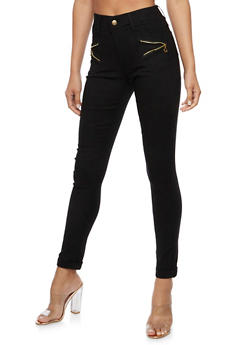 Zip Trim Skinny Stretch Pants - 3061072717399