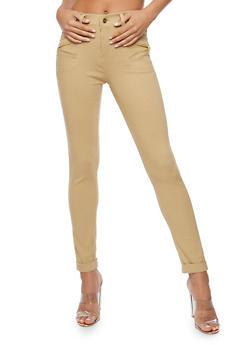 Zip Trim Skinny Stretch Pants - 3061072717399