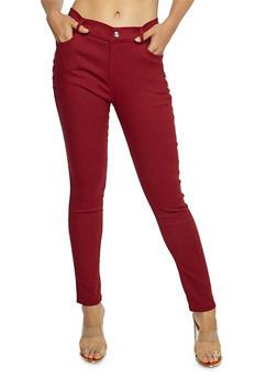 Rhinestone Studded Skinny Pants - 3061072717401