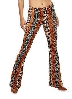 Printed Flared Leggings - 3061074015556