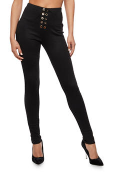 Lace Up Skinny Pants - 3061074015717