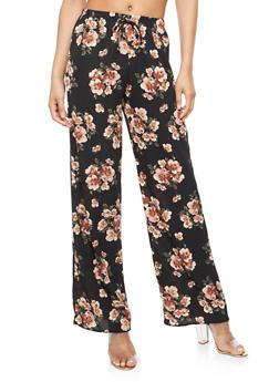 Floral Crepe Knit Palazzo Pants - 3061074015721