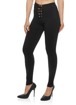 Lace Up Jeggings - 3061074015747