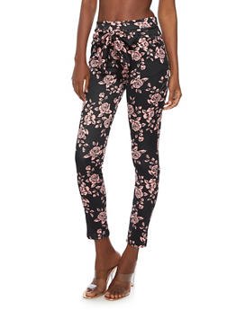 Printed Skinny Pants with Belted Tie Waist - MAUVE/BLK - 3061074015753