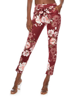 Printed Skinny Pants with Belted Tie Waist - BURGUNDY - 3061074015753