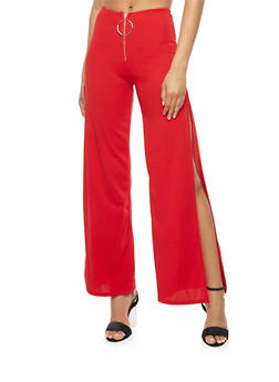 High Waisted Side Slit Pants - 3061074015758