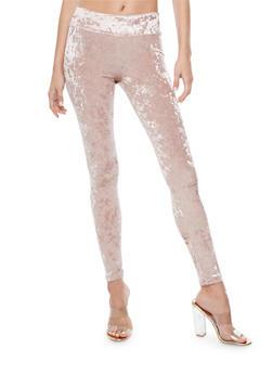 Wide Waist Crushed Velvet Leggings - 3061074015765