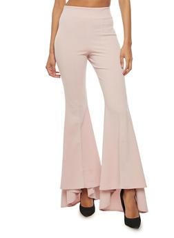 Pleated Crepe Knit Bell Bottom Pants - MAUVE - 3061074015776