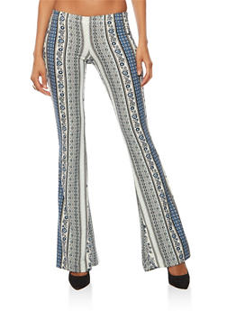 Printed Soft Knit Flared Pants - GRAY/BLUE - 3061074015778