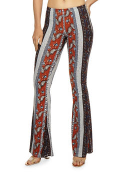 Printed Soft Knit Flared Pants - NAVY/RUST - 3061074015778