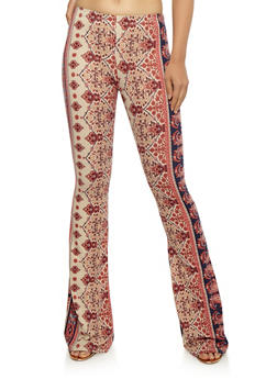 Printed Soft Knit Flared Pants - CORAL/NAVY - 3061074015778