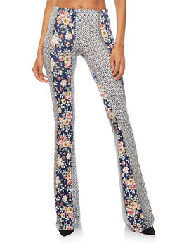 Printed Soft Knit Flared Pants - BLUE/RUST - 3061074015778