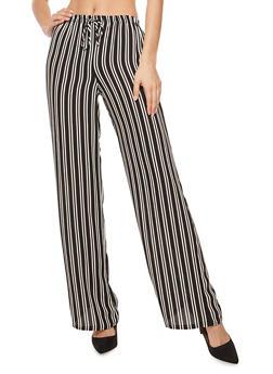 Striped Crepe Knit Palazzo Pants - 3061074015780