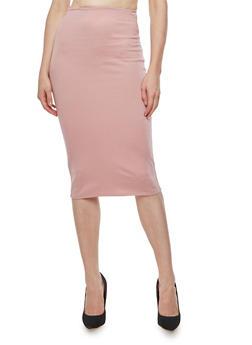 Ponte Midi Pencil Skirt - MAUVE - 3062020621395