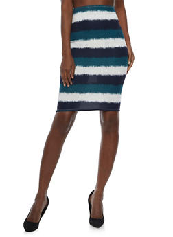 Wide Wave Striped Pencil Skirt - 3062020623952