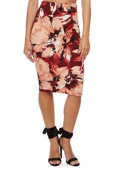 Floral Printed Pencil Skirt - 3062020623956