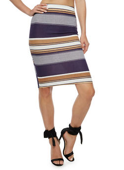 Striped Pencil Skirt - 3062020623957