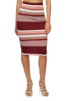 Striped Pencil Skirt - 3062020623957