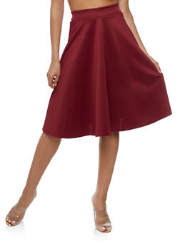 Solid Skater Skirt - WINE - 3062020624046