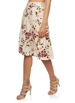 Floral Print Skater Skirt - 3062020624426