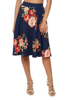 Floral Print Skater Skirt - 3062020624436