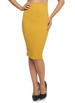 Bodycon Midi Skirt - MUSTARD - 3062020624458