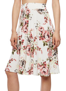 Floral Crepe Knit Skater Skirt - 3062020624481