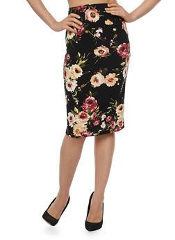 Floral Midi Pencil Skirt - 3062020625443