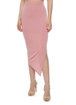Solid Side Slit Pencil Skirt - MAUVE - 3062020626344