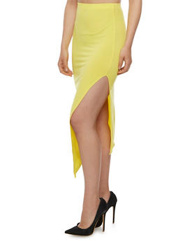 Solid Side Slit Pencil Skirt - 3062020626344