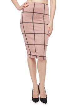 Plaid Midi Pencil Skirt - 3062020628639