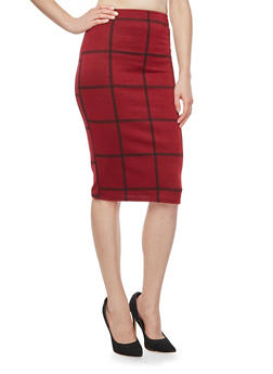 Plaid Midi Pencil Skirt - 3062020628639