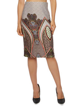 Pencil Skirt with Paisley Border Print - OLIVE - 3062020628834