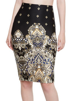 Pencil Skirt with Paisley Border Print - MUSTARD/ROYAL - 3062020628834