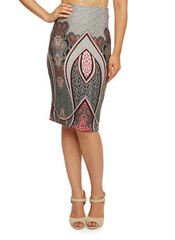 Pencil Skirt with Paisley Border Print - 3062020628834