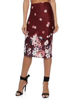 Floral Pencil Skirt - 3062020629444