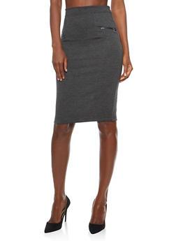Soft Knit Pencil Skirt with Zipper Details - 3062038342605