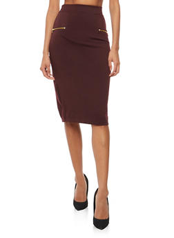 Soft Knit Pencil Skirt with Zipper Details - 3062038342605