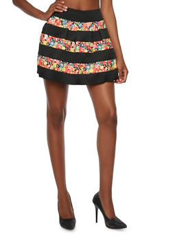 High Waisted Mini Skirt with Floral Stripes - 3062058931280
