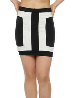 Color Block Mini Skirt - 3062062415042